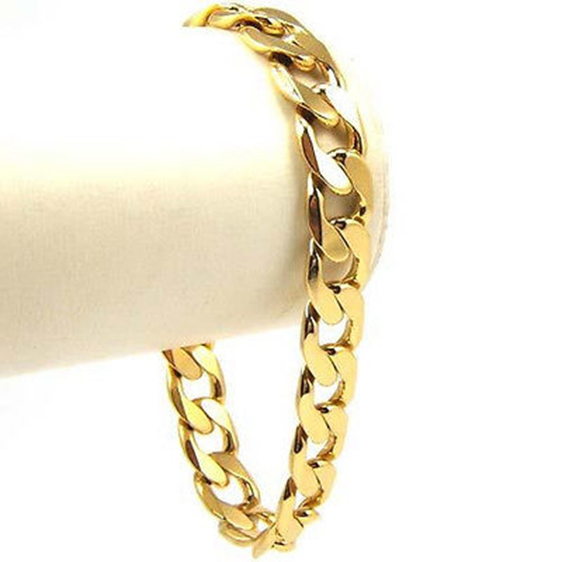 """solidní 24ct žluté zlato plné řetízek náramek kubánský pro muže ženy 9 """"délka"""