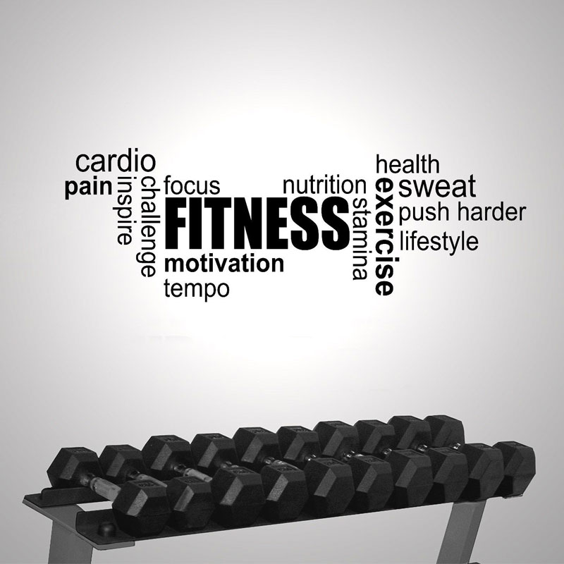 Us 4 45 20 Off Fitness Gym Exercise Word Cloud Modern Interior Wall Sticker Quotes Vinyl Art Removable Wallpaper Motivation G 06 In Wall Stickers