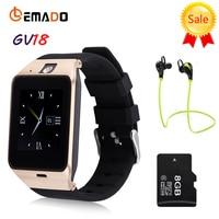 Lemado Aplus GV18 Relógio Inteligente Sincronização do Relógio Notificador Apoio TF SIM Card Bluetooth Smartwatch para a engrenagem Samsung s1 s2 Android telefone
