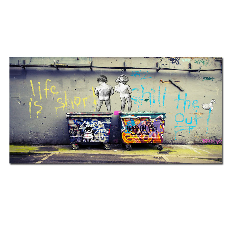 Big Size Graffiti Poster Canvas Painting Street Pop Art Utopia Painting 3D Cartoon Figure HD Print
