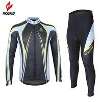 Arsuxeo hommes de printemps automne vélo jersey définit manches longues costumes vélo vtt vêtements à séchage rapide anti-la sueur