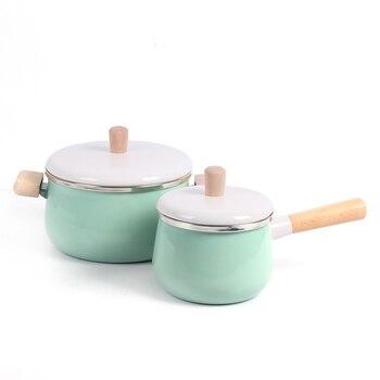 Enamel milk pot cooking pot non-stick soup pot with cover induction cooker gas stove universal cookware WF626144