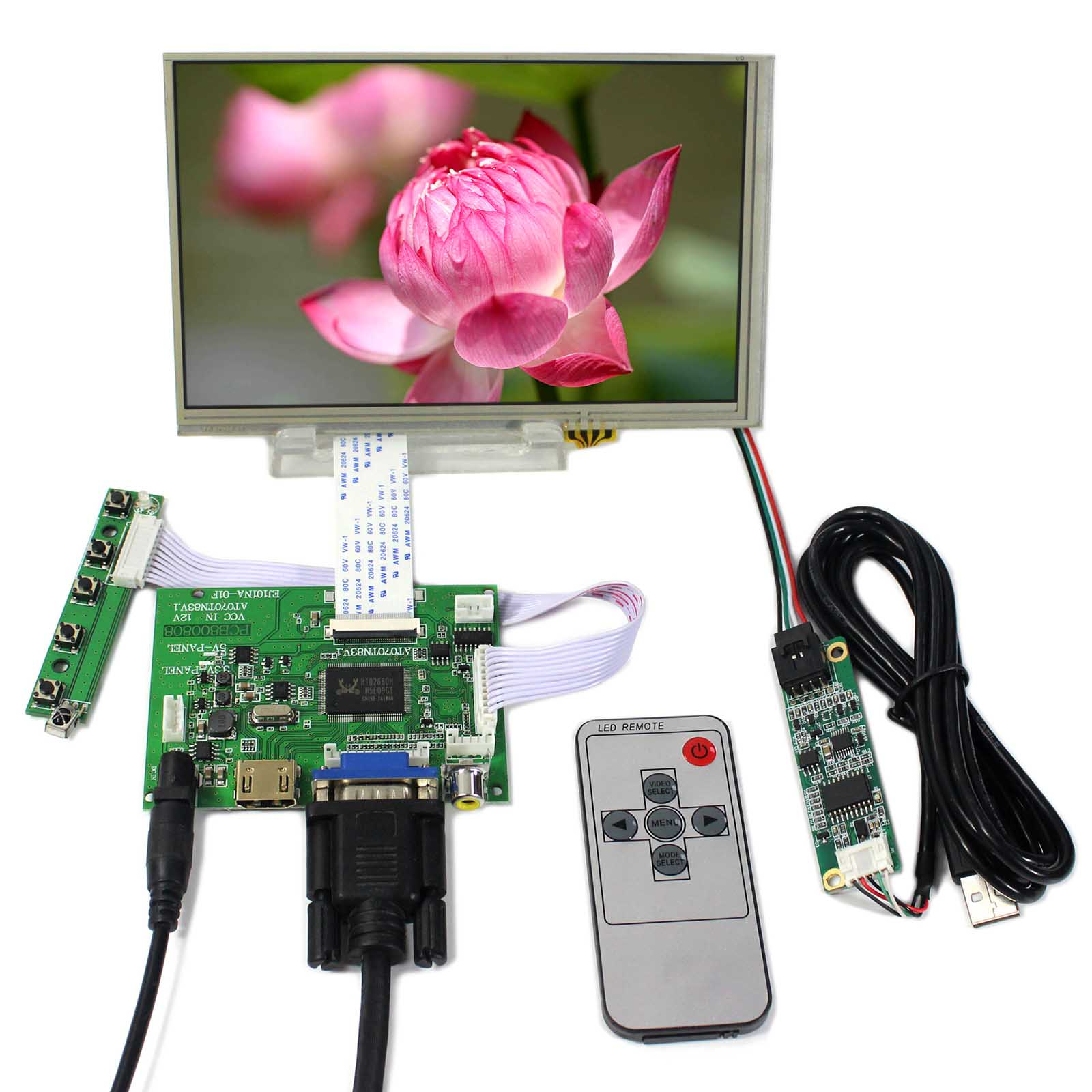 HDMI VGA 2AV LCD Controller Board+7inch 800X480 AT070TN83 Touch LCD Screen