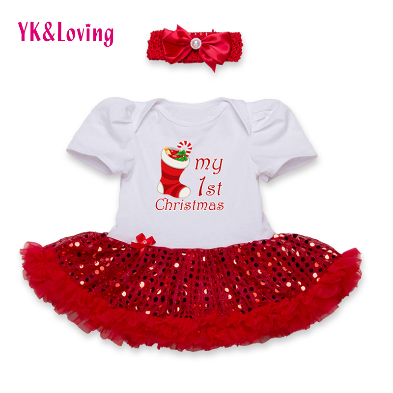 Sequin Baby Romper Short Sleeve Tutu Dress Cotton Infant