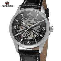 Forsining Men S Watch Top Brand Automatic Unique Skeleton Bars IndexLeather Strap Round Wristwatches Color Silver