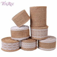 FENGRISE 5 M Vintage Natural Jute Burlap Hessian Lace Ribbon Sisal Rustic Wedding Event Party Table Runner Decoration Gift Wrap wedding party lace vintage jute table runner burlap fabric for burlap chair sashes burlap ribbon wedding decor supplies 15 240cm