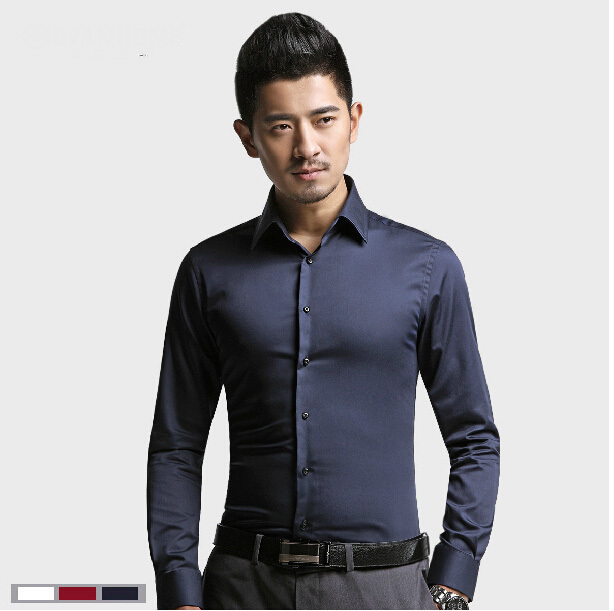Online Shop Mercerized cotton shirt men slim commercial men's ...