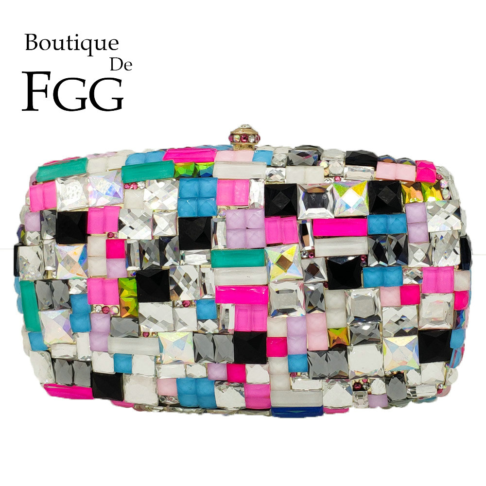 Boutique De FGG Multicolored Women Metal Clutches Minaudiere Bag Crystal Clutch Evening Bags Wedding Purse Ladies