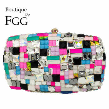 Boutique De FGG Multicolored Women Metal Clutches Minaudiere Bag Crystal Clutch Evening Bags Wedding Purse Ladies Party Hand Bag - DISCOUNT ITEM  50% OFF All Category