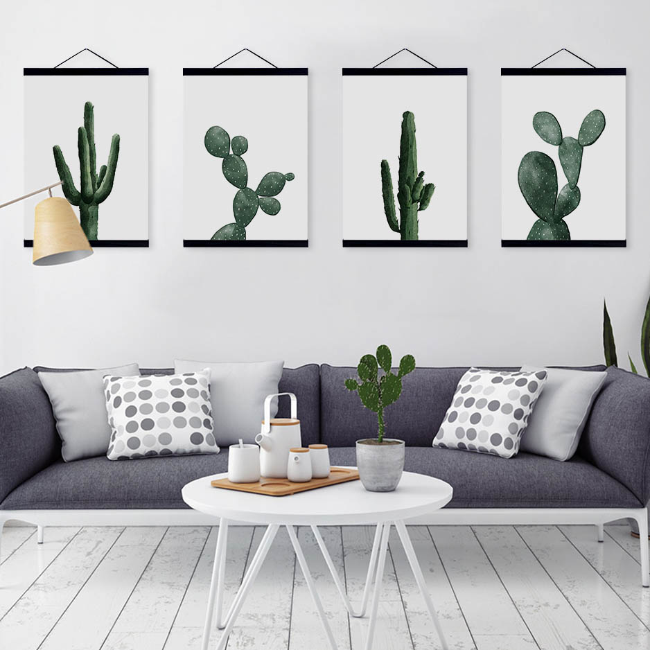 Nordic Modern Floral Watercolor Green Cactus Framed Canvas