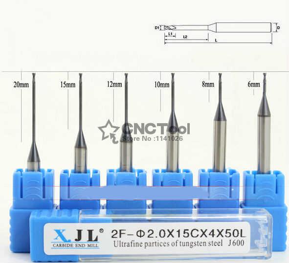 HRC60 חותך כרסום מיקרו 8C 2F-2.0*4*50 * כלי כרסום ביט קרביד CNC ספירלה שטוח סוף מיל כרסום קאטר, כלי מחרטה, frezer