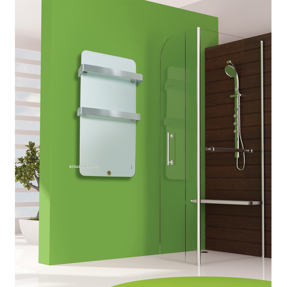 Vertical Wall Mounted Electric Bathroom Radiator Panel With Two Towel Rails In Electric Heaters