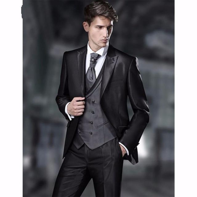 2018 vintage groomsmen groom tuxedos shiny black men suits