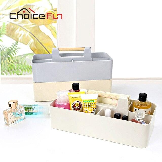 Choice Fun Multifunctional Creative Kitchen Snacks Organizer Clification Desktop Multigrid Plastic Wooden Handle Storage Box