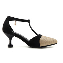 fashion mix color pointed toe Thin high heels pumps woman summer Female t-strap shoes elegant women's causel work Pumps