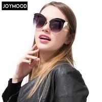 JOYMOOD 2017 Original Design Sexy Cat Eye Women Sunglasses Coating Reflective Mirror Crystal Decoration Oversized Sun