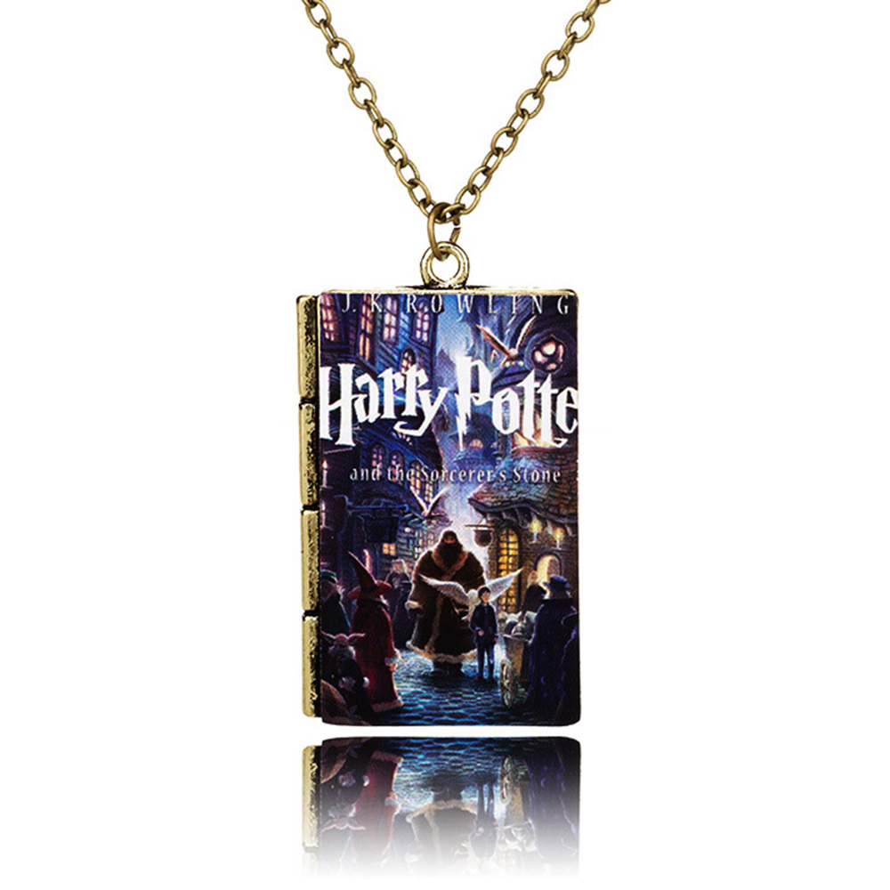 Hot Salling Fashion Movie Jewelry Harry Potter Magic School Book Pendant Necklace for Men Women Gift