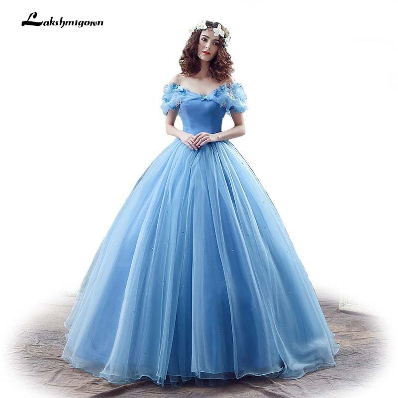 New Movie Deluxe Adult Cinderella Wedding Dresses Blue