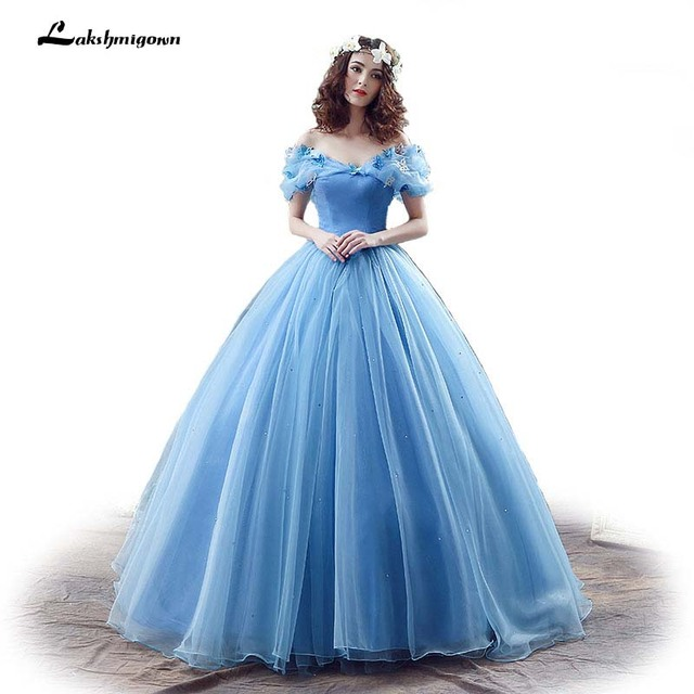 3a942d6812 New Movie Deluxe Adult Cinderella Wedding Dresses Blue Cinderella Ball Gown  Wedding Dress Bridal Dress 26240