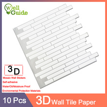 10pcs Wall paper 3D Marble mosaic Brick Self-Adhesive PU Stickers Waterproof DIY Kitchen Bathroom Home Decal Sticker