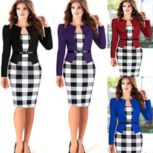 2015 Women Summer Elegant Belted Tartan Patchwork Tunic Work Business Casual Party Bodycon Pencil Sheath Dress