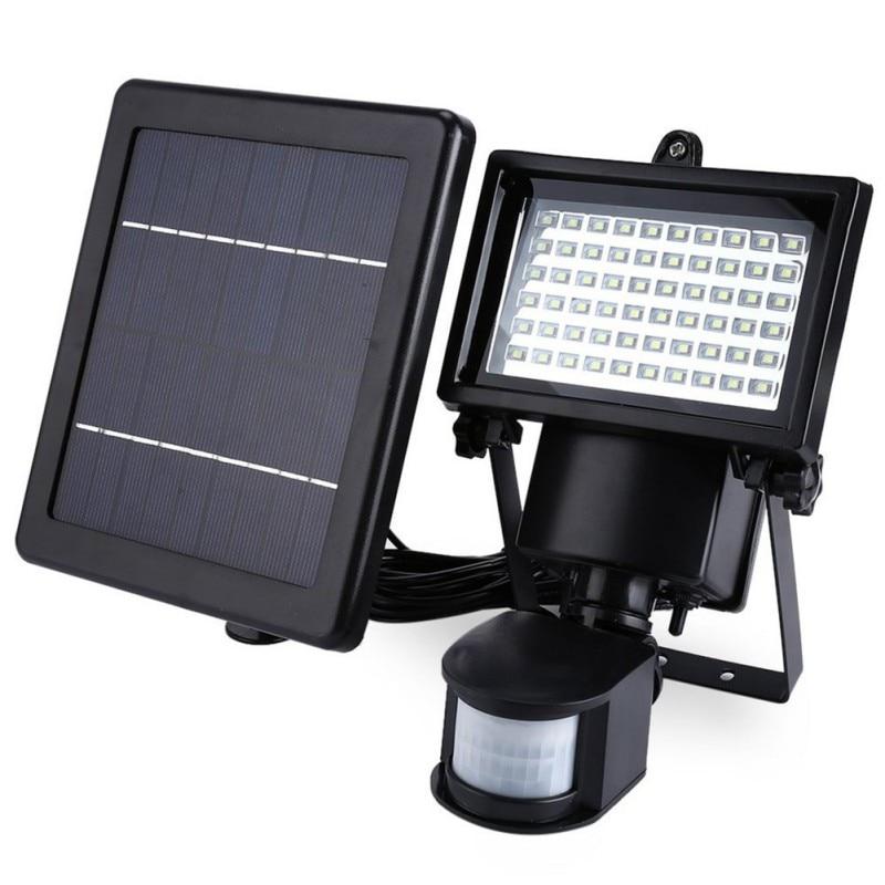 ФОТО LED Solar Lamp Waterproof Solar Light Pir 60 LEDs PIR Motion Detector Door Wall Light Outdoor Wall Lamp Security Spot Lighting