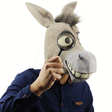 Adult Full Face Horse Donkey Head Mask Latex Halloween Party Cosplay Masks Supplies Animal