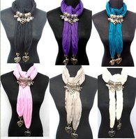 2013 Hottest Sale Costume Scarf Jewellery Pink Polyester Scarf Necklace With Cameo Heart Pendant 24pcs
