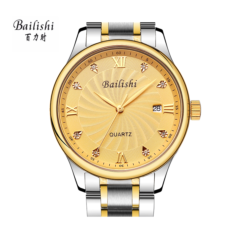 BAILISHI 2017 Mens Watches Brand Luxury Waterproof Date Clock Male Quartz Sports Wrist Watch Men Gold Bracelet relogio masculino bailishi top luxury brand men watches diamonds hour stainless steel sports wrist watch male causal quartz male watch waterproof