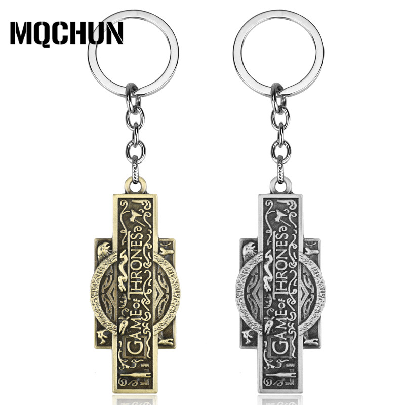 все цены на Fashion Jewelry Game of Thrones Keychain Vintage Logo Pendant Alloy Metal Keyring Key Chain Key Ring for Fans Souvenirs-50