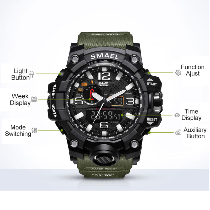 SMAEL Brand Men Sports Watches Dual Display Analog Digital LED Electronic Quartz Wristwatches Waterproof Swimming Military Watch 6
