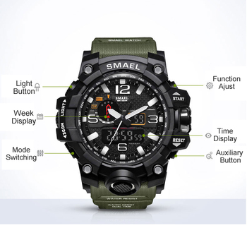 SMAEL Brand Men Sports Watches Dual Display Analog Digital LED Electronic Quartz Wristwatches Waterproof Swimming Military Watch 6