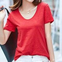 Plus Size 3XL 4XL 5XL Summer T Shirt Women V Neck Short Sleeve T Shirts For