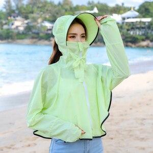 Image 4 - BINGYUANHAOXUAN 2019 ใหม่ UV ครีมกันแดดโปร่งใสเสื้อผ้าเสื้อแขนยาวผู้หญิงชายหาดป้องกันดวงอาทิตย์   ups