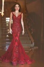 Meerjungfrau Rote Arabische Abendkleider Langes 2016 Fashion Elegante Appliques Prom Kleider Einbau vestido longo