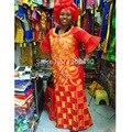 Africano bazin bordado vestidos de diseño largo vestido con bufanda 160 cm longitud