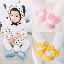 Spring And Autumn Baby pantyhose Rabbit - ear bowknot net eyed baby childrens socks wholesale