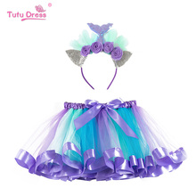 Rainbow Skirt Girls Kids Girl Clothing Fluffy Skirts Baby Princess Mermaid Headband Colorful Mini Pettiskirt Children Ball Gown