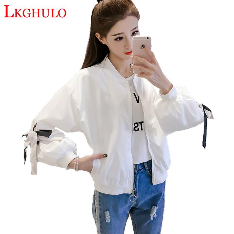 LKGHULO Baseball   Jackets   Women 2018 New Fashion Women   Basic     Jacket   Casual Windbreaker Female Outwear Women Coat A449