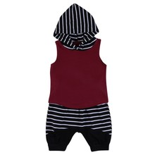 2 Pcs Toddler Kids Baby Boys Outfits Set Hooded Vest Tops+Striped Short Pants Clothes