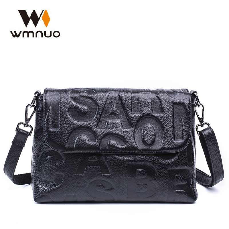 Wmnuo Brand Bag Women Genuine Leather Women Shoulder Bag Soft Cowhide Personality Letter Embossing Ladies Evening Crossbody Bag