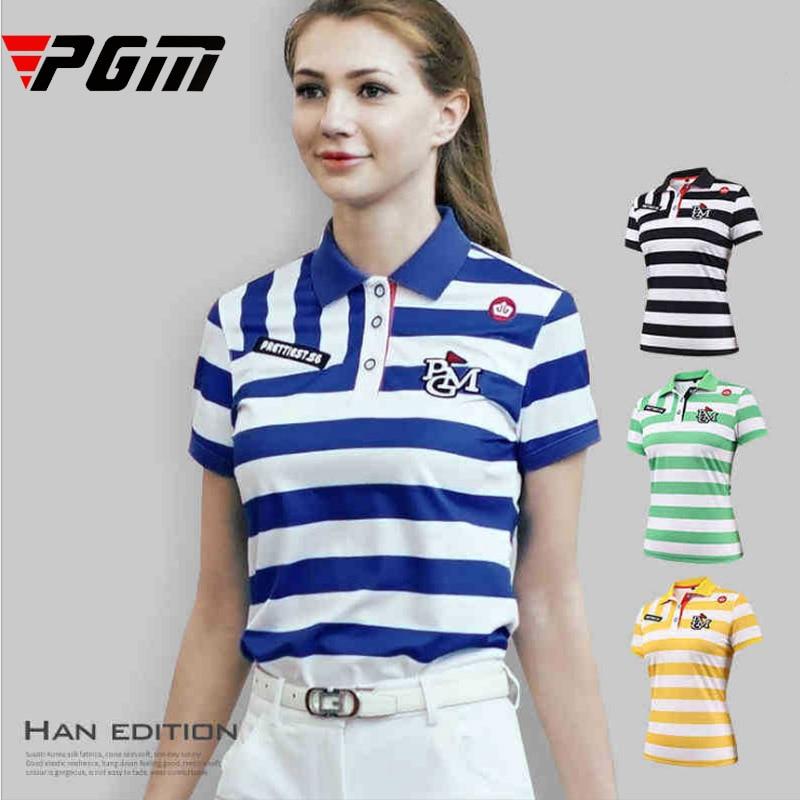 Marque femmes Sport chemise Slim confortable respirant Anti sweat Golf POLO à manches courtes belle rayure transversale bleu noir s xl