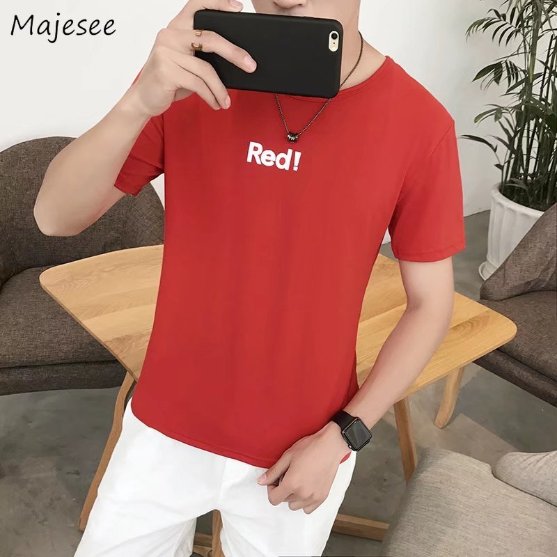 T-shirts Men Short Sleeve O-Neck Printed Simple All-match Korean Style Leisure T-shirt Mens Daily Soft Loose Students Clothing