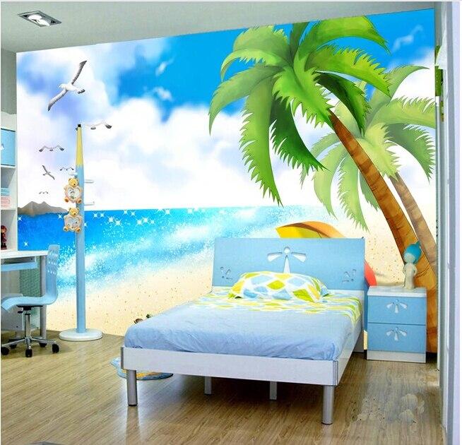 Custom de parede infantil papel beach sea view murals for for Beach wall mural cheap