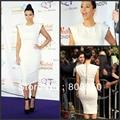 Kim Kardashian Celebrity Dress Cap Sleeve White Sheath Mid Calf Length Vestido De Festa Custom Made Cocktail Dress