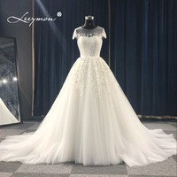 Leeymon Custom Made 2018 Ball Gown Princess Wedding Dress Sweetheart Romantic Bridal Dress with Appliques Plus Size