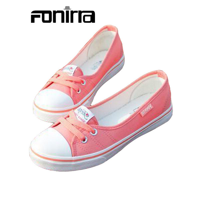 2016 New Women Casual Shoes Candy Colors Round Toe Flat with Shoes Fashion Canvas Lace-Up Solid Breathable Shoes Woman 011