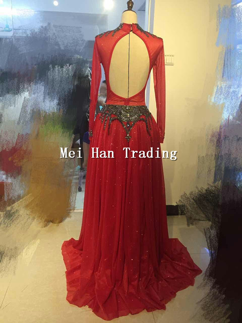 Red Halloween Outfit Bodysuit Long Skirt Clothing Set Female Singer Party Show Shining Wear Stage Rhinestone Costume 1