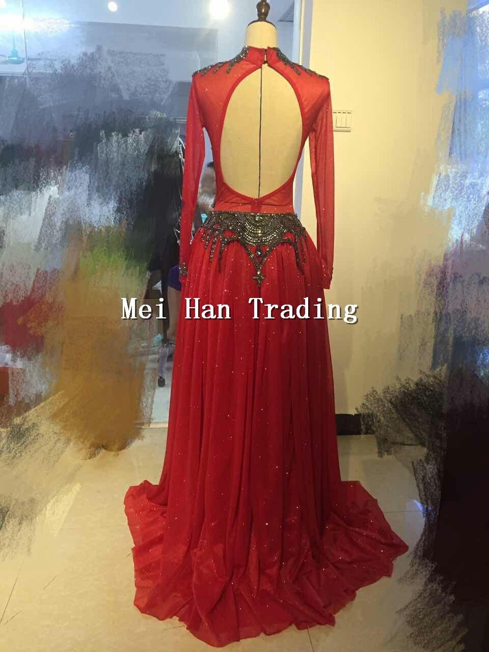 الأحمر هالوين الزي ارتداءها طويلة تنورة الملابس مجموعة الإناث المغني حزب تظهر مشرقة ارتداء المرحلة حجر الراين زي-في أفرول من ملابس نسائية على  مجموعة 2