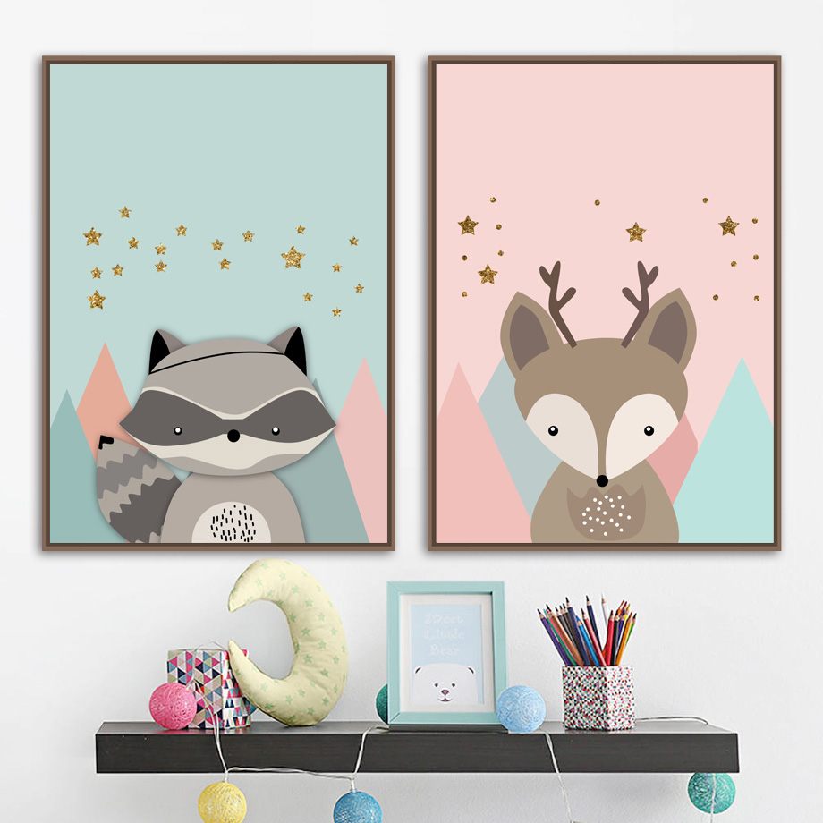 Cartoon Deer Raccoon Star Nordic Posters And Prints Canvas Painting Wall Art Print Animals Wall Pictures Baby Kids Room Decor in Painting Calligraphy from Home Garden